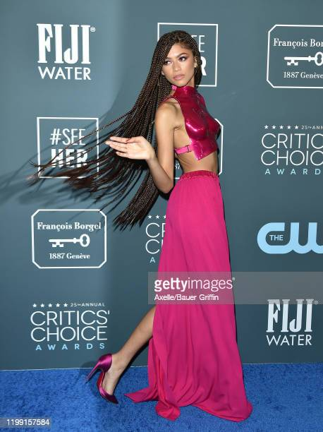 Zendaya attends the 25th Annual Critics' Choice Awards at Barker Hangar on January 12 2020 in Santa Monica California