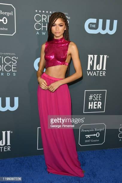 Zendaya attends the 25th Annual Critics' Choice Awards held at Barker Hangar on January 12, 2020 in Santa Monica, California.