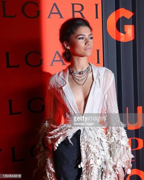 Zendaya attends the Bvlgari Bzero1 Rock collection event at Duggal Greenhouse on February 06 2020 in Brooklyn New York