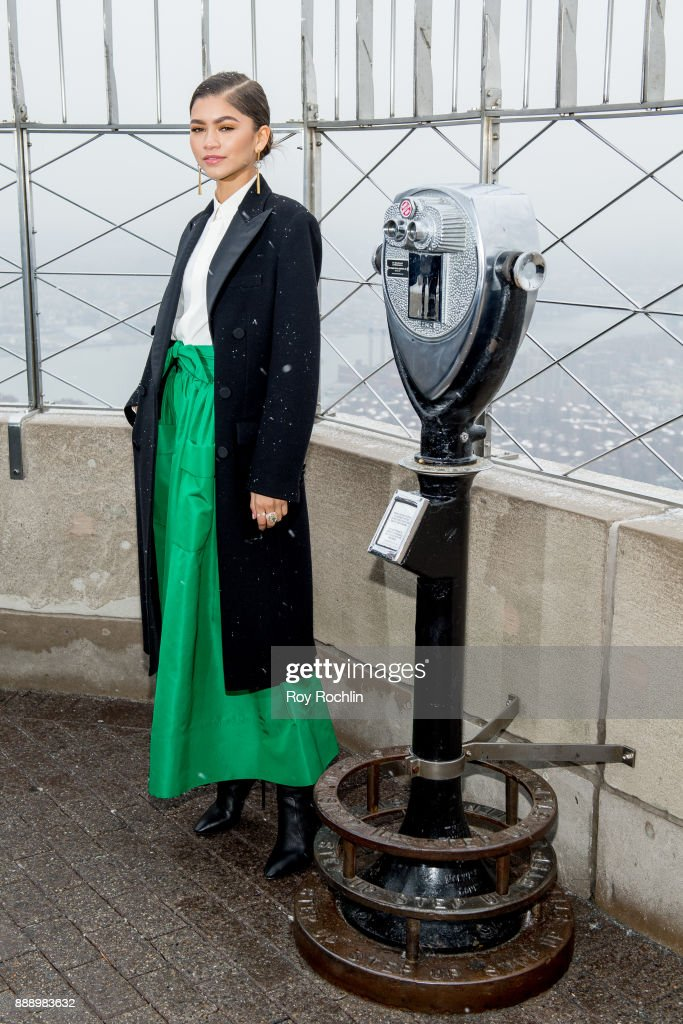 Zendaya attends the cast of 'The Greatest Showman' light the Empire State Building at The Empire State Building on December 9, 2017 in New York City.