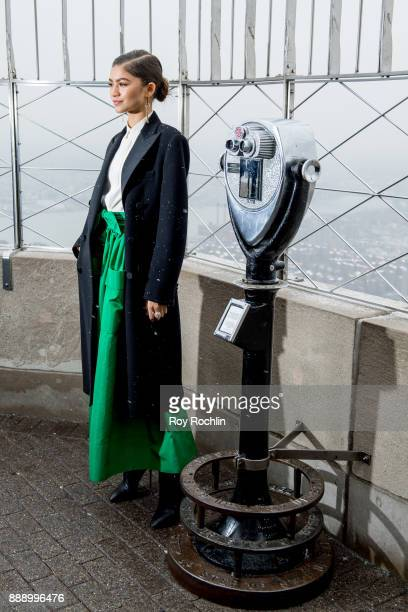 Zendaya attends the cast of 'The Greatest Showman' light the Empire State Building at The Empire State Building on December 9 2017 in New York City