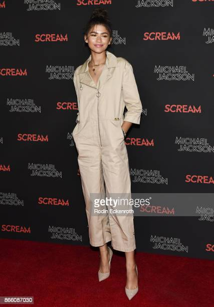 Zendaya attends The Estate of Michael Jackson and Sony Music present Michael Jackson Scream Halloween Takeover at TCL Chinese 6 Theatres on October...