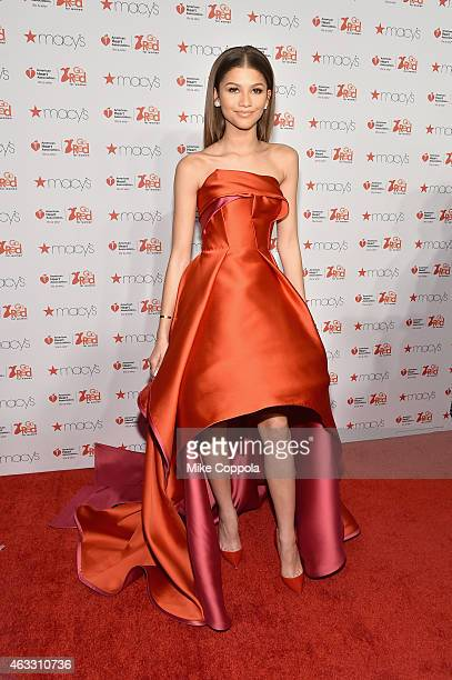Zendaya attends the Go Red For Women Red Dress Collection 2015 presented by Macy'sfashion show during MercedesBenz Fashion Week Fall 2015 at Lincoln...