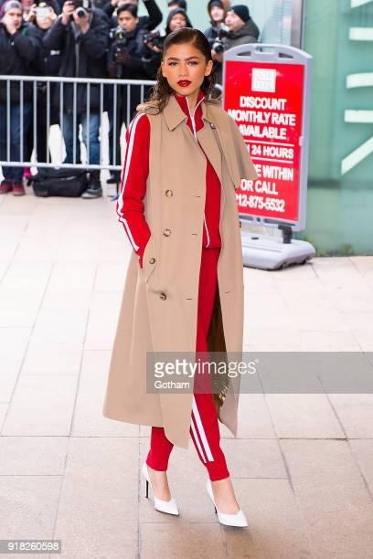 Zendaya attends the Michael Kors fashion show during New York Fashion Week at the Vivian Beaumont Theater at Lincoln Center on February 14 2018 in...