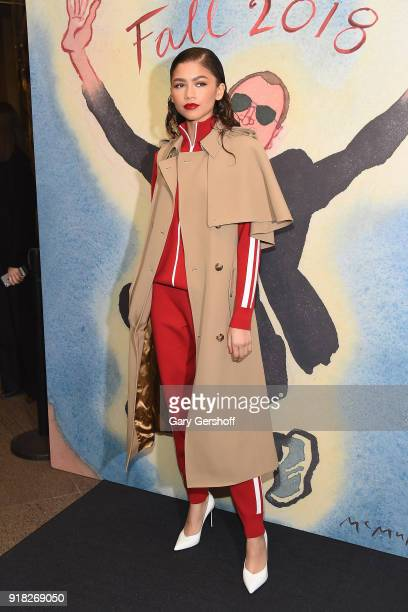 Zendaya attends the Michael Kors fashion show during New York Fashion Week at Vivian Beaumont Theatre on February 14 2018 in New York City