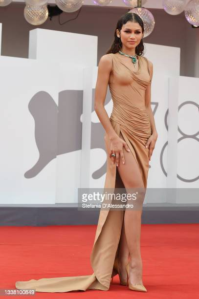 """Zendaya attends the red carpet of the movie """"Dune"""" during the 78th Venice International Film Festival on September 03, 2021 in Venice, Italy."""