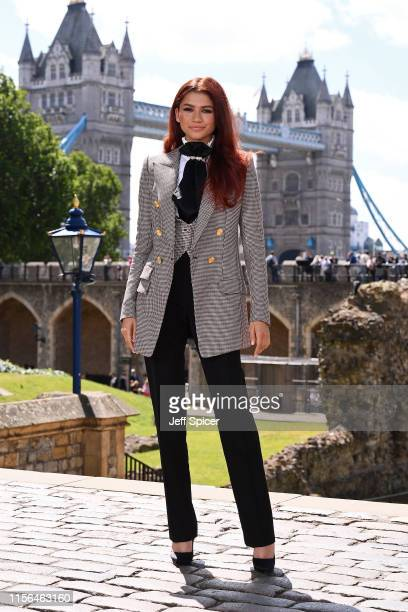 Zendaya attends the SpiderMan Far From Home London photo call at Tower of London one of the films iconic locations on June 17 2019 in London England