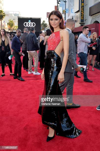 Zendaya attends the World Premiere of 'SpiderMan Far From Home' hosted by Audi at the TCL Chinese Theatre on June 26 2019 in Hollywood California...