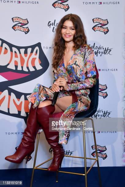 Zendaya attends Tommy Hilfiger TOMMYNOW Spring 2019 : TommyXZendaya on March 02, 2019 in Paris, France.