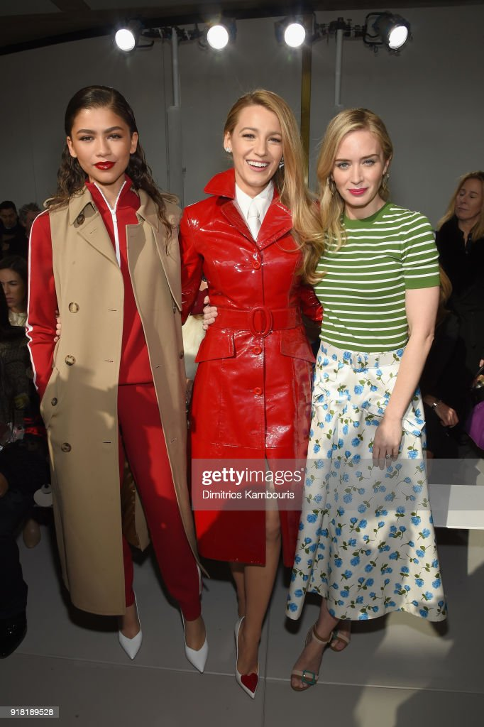 Zendaya, Blake Lively, and Emily Blunt attend the Michael Kors Collection Fall 2018 Runway Show at Vivian Beaumont Theatre at Lincoln Center on February 14, 2018 in New York City.
