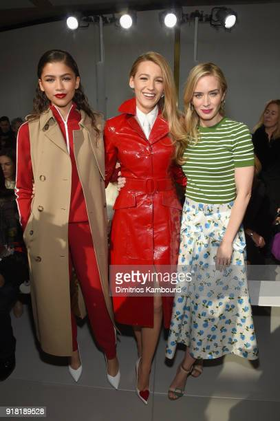 Zendaya Blake Lively and Emily Blunt attend the Michael Kors Collection Fall 2018 Runway Show at Vivian Beaumont Theatre at Lincoln Center on...
