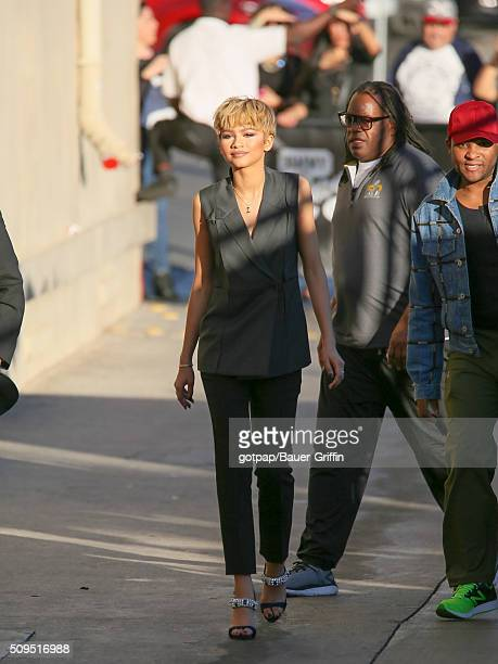 Zendaya Coleman is seen arriving at 'Jimmy Kimmel Live' on February 10, 2016 in Los Angeles, California.