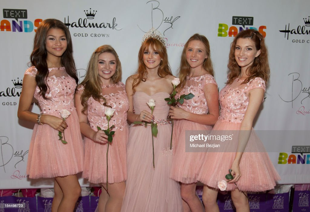 Zendaya Coleman, Kailey Swanson, Bella Thorne, Bella Pendergast and Dani Thorne attend Hallmark Gold Crown And Text Bands Celebrates Bella Thorne's Quinceanera in honor of her 15th Birthday on October 20, 2012 in Los Angeles, California.