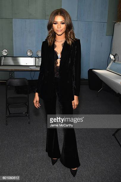 Zendaya Coleman poses backstage at the Project Runway fashion show during New York Fashion Week The Shows at The Arc Skylight at Moynihan Station on...