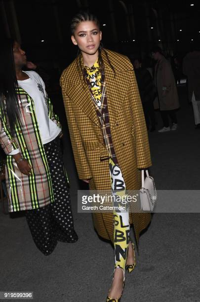 Zendaya Coleman wearing Burberry at the Burberry February 2018 show during London Fashion Week at Dimco Buildings on February 17 2018 in London...