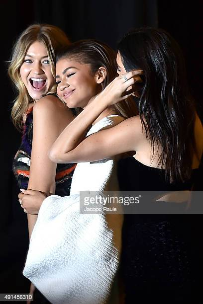 Zendaya Gigi Hadid and Kendall Jenner are seen arriving at Vogue 95th Anniversary Party during the Paris Fashion Week Ready To Wear S/S 2016 Day Five...