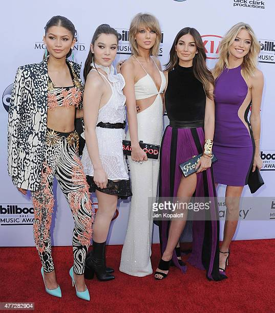 Zendaya Hailee Steinfeld Taylor Swift Lily Aldridge and Martha Hunt arrive at the 2015 Billboard Music Awards at MGM Garden Arena on May 17 2015 in...