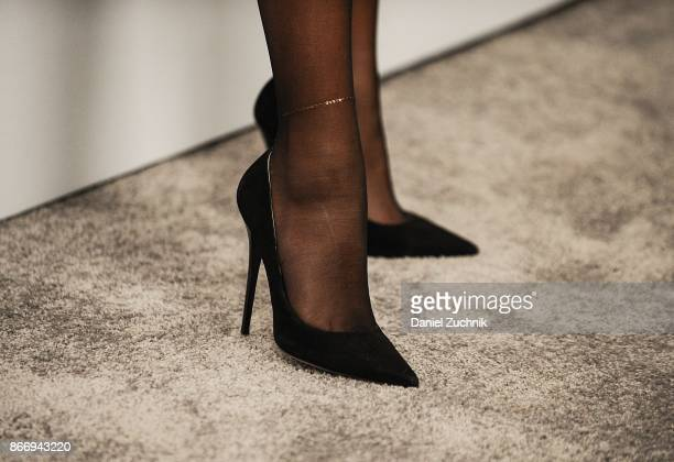 Zendaya heels detail attends the Volez Voguez Voyagez Louis Vuitton Exhibition Opening on October 26 2017 in New York City