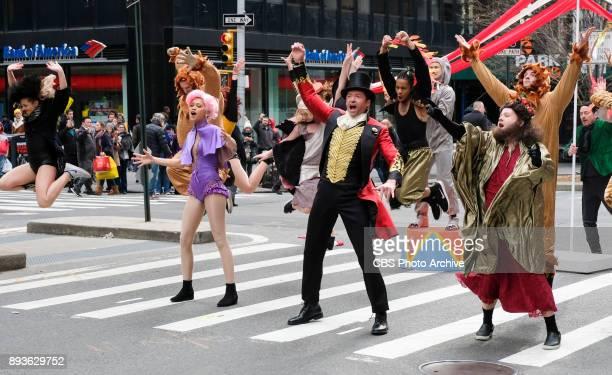 Zendaya Hugh Jackman and James Corden perform in Crosswalk The Musical in New York City with James Corden during 'The Late Late Show with James...