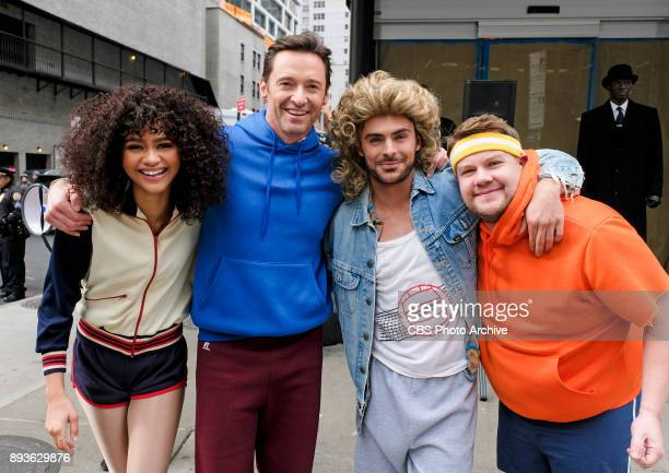Zendaya Hugh Jackman Zac Efron and James Corden during Crosswalk The Musical in New York City with James Corden during 'The Late Late Show with James...