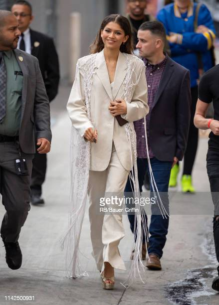 Zendaya is seen at 'Jimmy Kimmel Live' on May 09, 2019 in Los Angeles, California.