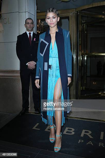 Zendaya is seen during the Paris Fashion Week Ready To Wear S/S 2016 Day Six on October 4 2015 in Paris France