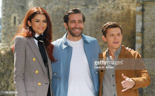 Zendaya Jake Gyllenhaal and Tom Holland attend a photocall for SpiderMan Far From Home at the Tower of London on June 17 2019 in London England