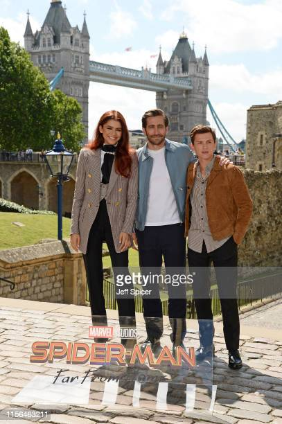 Zendaya Jake Gyllenhaal and Tom Holland attend the SpiderMan Far From Home London photo call at Tower of London one of the films iconic locations on...