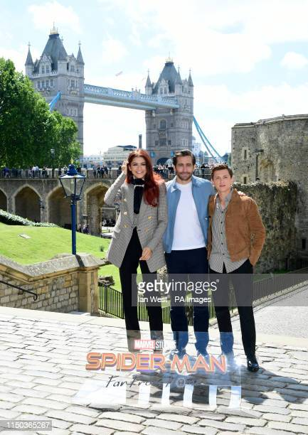Zendaya Jake Gyllenhaal and Tom Holland attending the SpiderMan Far From Home Photocall held at the Tower of London
