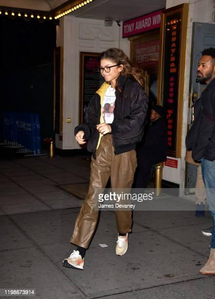 Zendaya leaves Dear Evan Hansen play at Music Box Theatre on February 4 2020 in New York City
