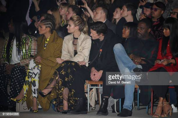 Zendaya Lily James Matt Smith Idris Elba and Sabrina Dhowre wearing Burberry at the Burberry February 2018 show during London Fashion Week at Dimco...