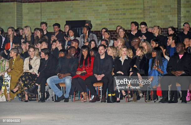 Zendaya Lily James Matt Smith Idris Elba Sabrina Dhowre Nicholas Hoult Naomi Watts Kate Moss Naomi Campbell and Steve McQueen wearing Burberry at the...
