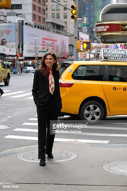 Zendaya performs in Crosswalk The Musical in New York City with James Corden during 'The Late Late Show with James Corden' on Thursday December 14...