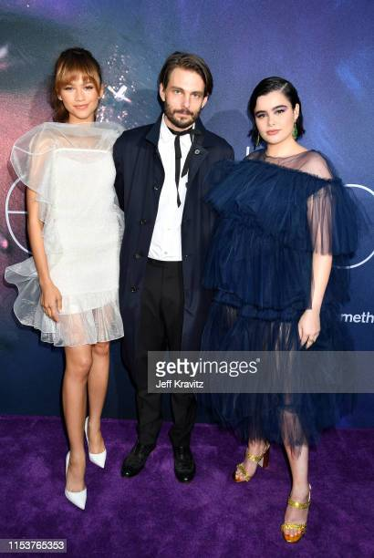 Zendaya Sam Levinson and Barbie Ferreira attend HBO's Euphoria premiere at the Arclight Pacific Theatres' Cinerama Dome on June 04 2019 in Los...