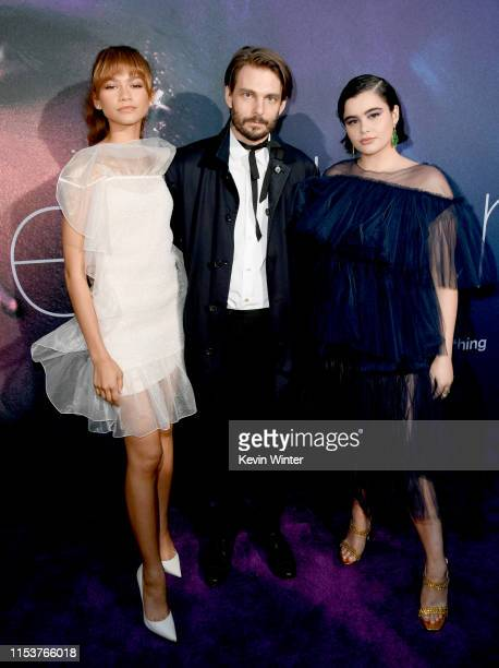 Zendaya Sam Levinson and Barbie Ferreira attend the LA Premiere of HBO's Euphoria at The Cinerama Dome on June 04 2019 in Los Angeles California