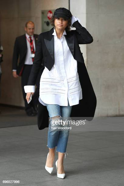 Zendaya seen at BBC Radio One promoting her new movie 'SpiderMan Homecoming' on June 16 2017 in London England