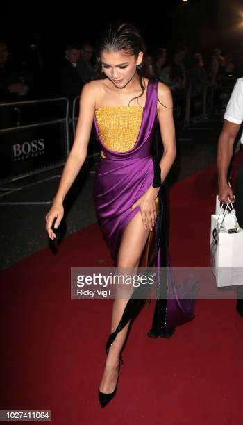 Zendaya seen leaving GQ Men of the Year Awards held at Tate Modern on September 5 2018 in London England