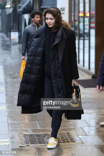 Zendaya seen leaving the Bulgari Hotel in Knightsbridge on February 19 2018 in London England