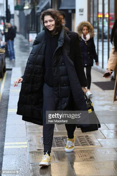 Zendaya seen leaving the Bulgari Hotel in Knightsbridge on February 19 2018 in London England