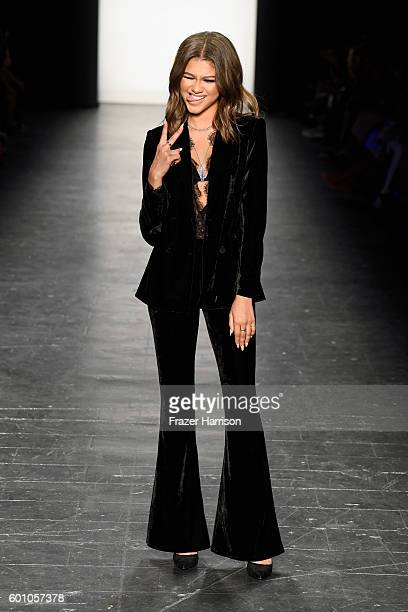 Zendaya walks the runway at the Project Runway fashion show during New York Fashion Week The Shows at The Arc Skylight at Moynihan Station on...