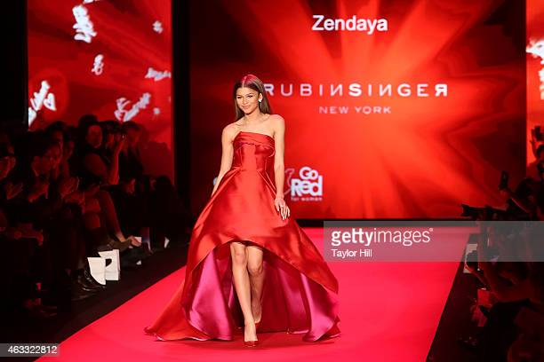 Zendaya walks the runway during the Go Red For Women fall 2015 fashion show on February 12 2015 in New York City
