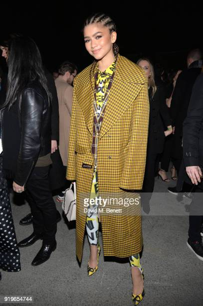 Zendaya wearing Burberry at the Burberry February 2018 show during London Fashion Week at Dimco Buildings on February 17 2018 in London England