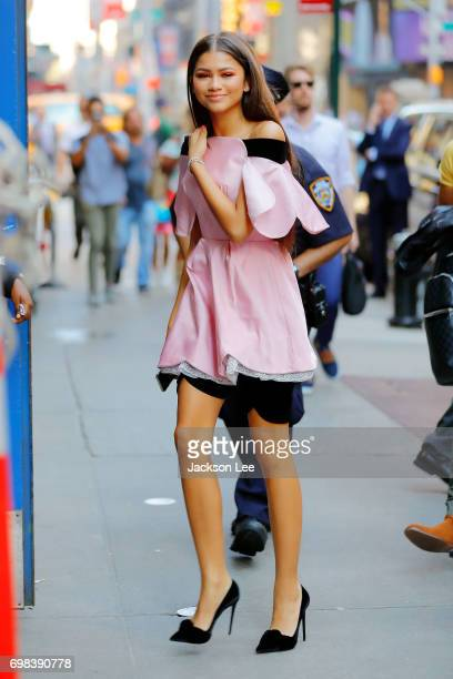 Zendaya wears pink when she arrives at GMA on June 20 2017 in New York City