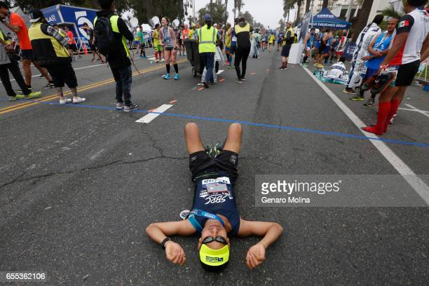 Zenen Hernandez of Santa Monica is exhausted after completing the 32nd annual Los Angeles Marathon in Santa Monica on March 16 2017