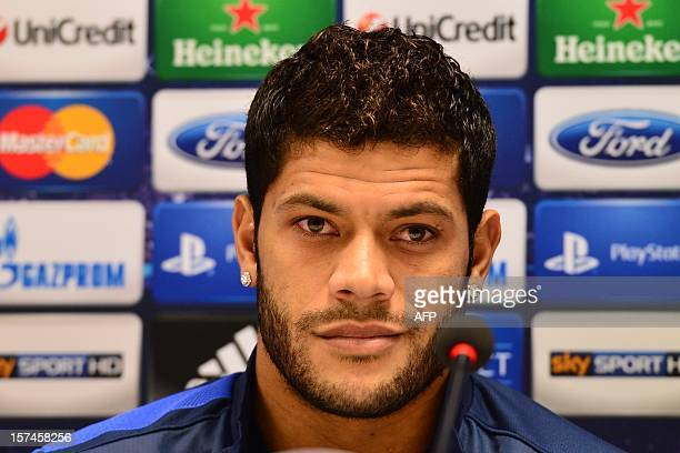 FC Zenit Brazilian forward Hulk listens during a press conference on the eve of their Champions League match against AC Milan on December 3 2012 at...