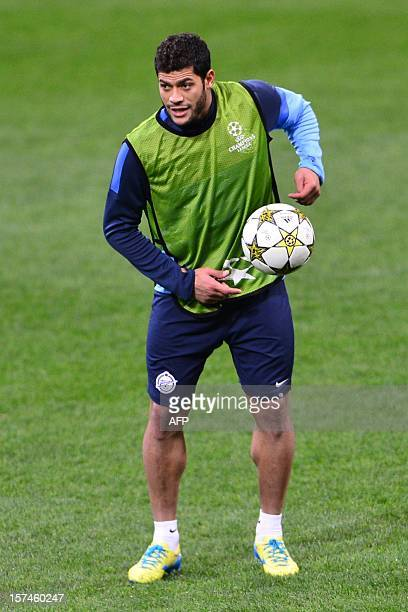 FC Zenit Brazilian forward Hulk warmsup during a training session of the FC Zenit on the eve of the Champions League match against AC Milan December...