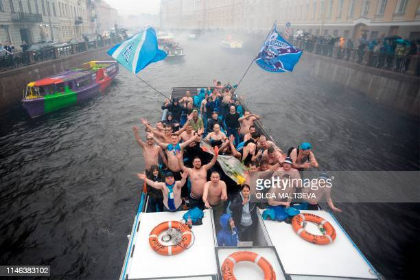 Zenit Saint Petersburg fans attend in champion's parade after the final match in Russian Premier League in Saint Petersburg on May 26 2019