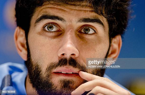 FC Zenit Saint Petersburg player Luis Neto gives a press conference in Eindhoven on February 18 on the eve of a UEFA Europa League football match...