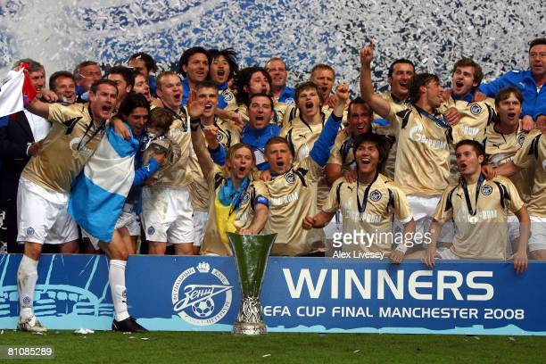 Zenit St. Petersburg celebrate with the trophy during the UEFA Cup Final between Zenit St. Petersburg and Glasgow Rangers at the City of Manchester...