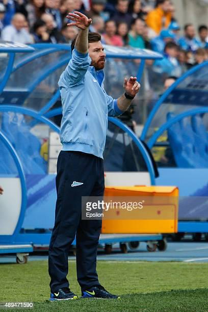 Zenit St Petersburg head coach Andre VillasBoas gestures during the Russian Football League match between FC Zenit St Petersburg and FC Rubin Kazan...